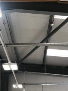Car warehouse roof cladding resprayed