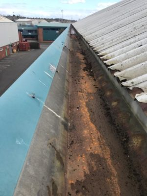 Commercial guttering clean and recoat needed