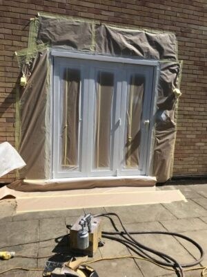 MPJ get to work on a paint coating french doors